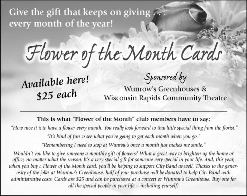 Flower of the Month Cards - Winrow's Greenhouses and Wisconsin Rapids Community Theatre